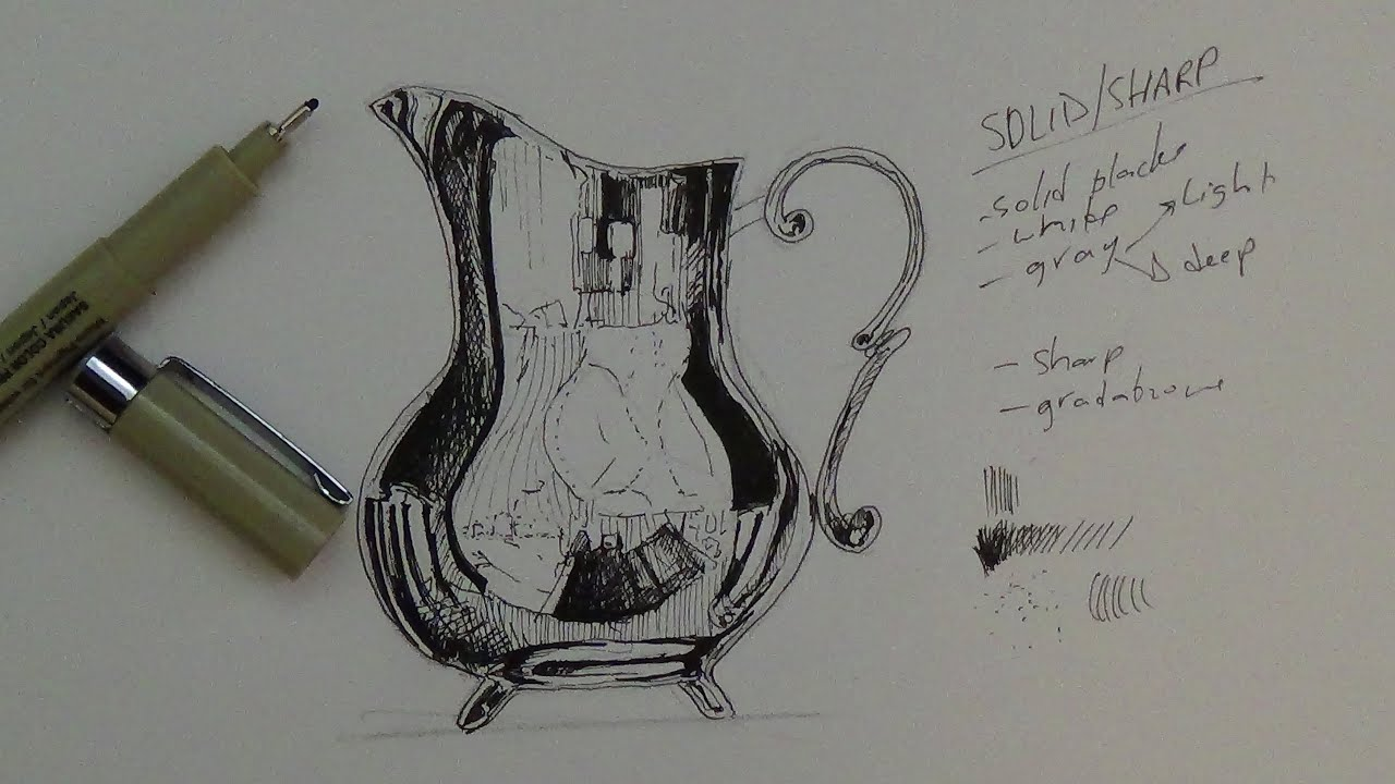 Pen Amp Ink Drawing Tutorial How To Render A Pitcher That