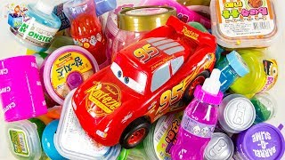 Learning Color Disney Pixar Cars Lightning McQueen Monster slime box full of toys play video for kid