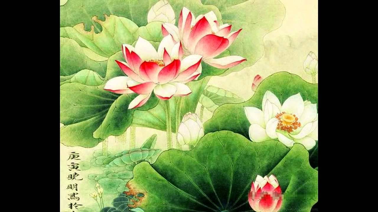 Chinese Lotus Flower Paintings Youtube