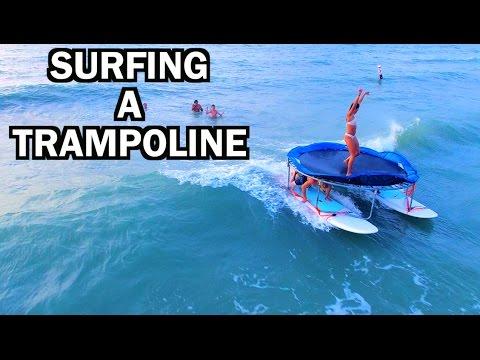 TRAMPOLINE SURFING IN A HURRICANE!!!