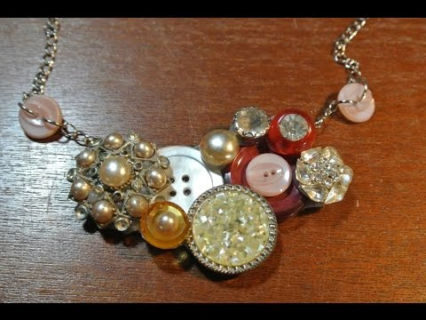 DIY Button Bib Necklace Jewellery How To! ¦ The Corner of