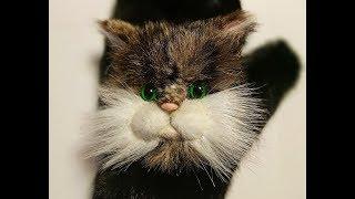 Котик - брошь, аппликация на варежки из искусственного меха
