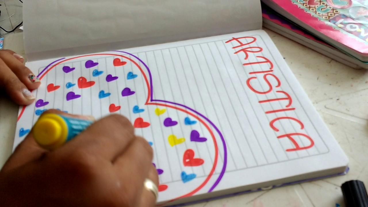 Cómo marcar cuaderno de artística lluvia de corazones 1