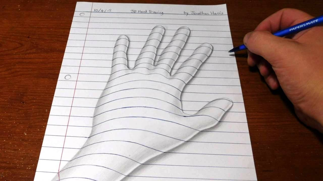 Line Drawing Newspaper : How to draw a d hand trick art optical illusion youtube