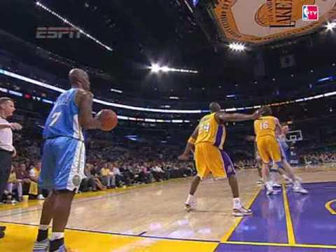 Chauncey Billups Throws the Inbound Pass Off of Kobe Bryant