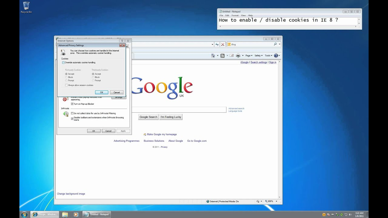 Internet Explorer 8  How To Enable Cookies