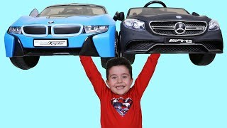 Yusuf'un Akülü Araba Tutkusu | Funny Kid playing batery-powered cars