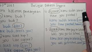 Belajar Bahasa Inggris | Memahami Kalimat Pertanyaan