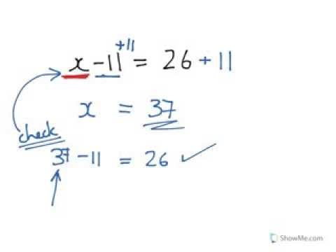Year 7, 8 solve x-11=26 how to solve simple equations made