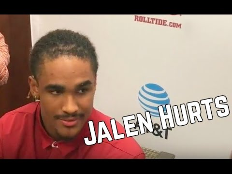 Alabama Quarterback Jalen Hurts talks to media before spring game