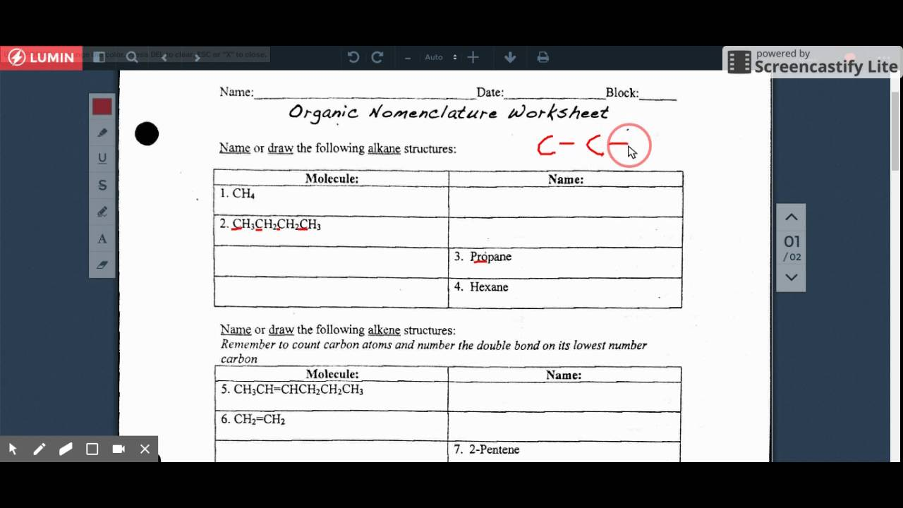 Tutorial Organic Nomenclature Worksheet Part 1 Youtube
