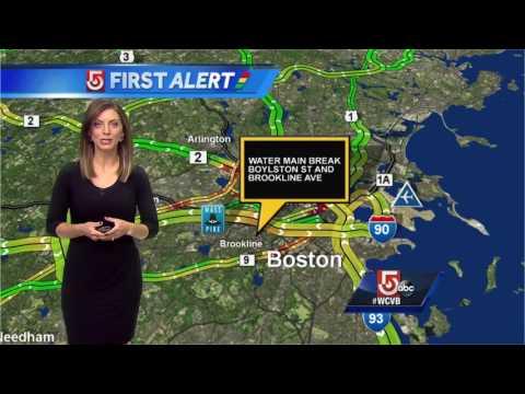 Water main breaks near Boston
