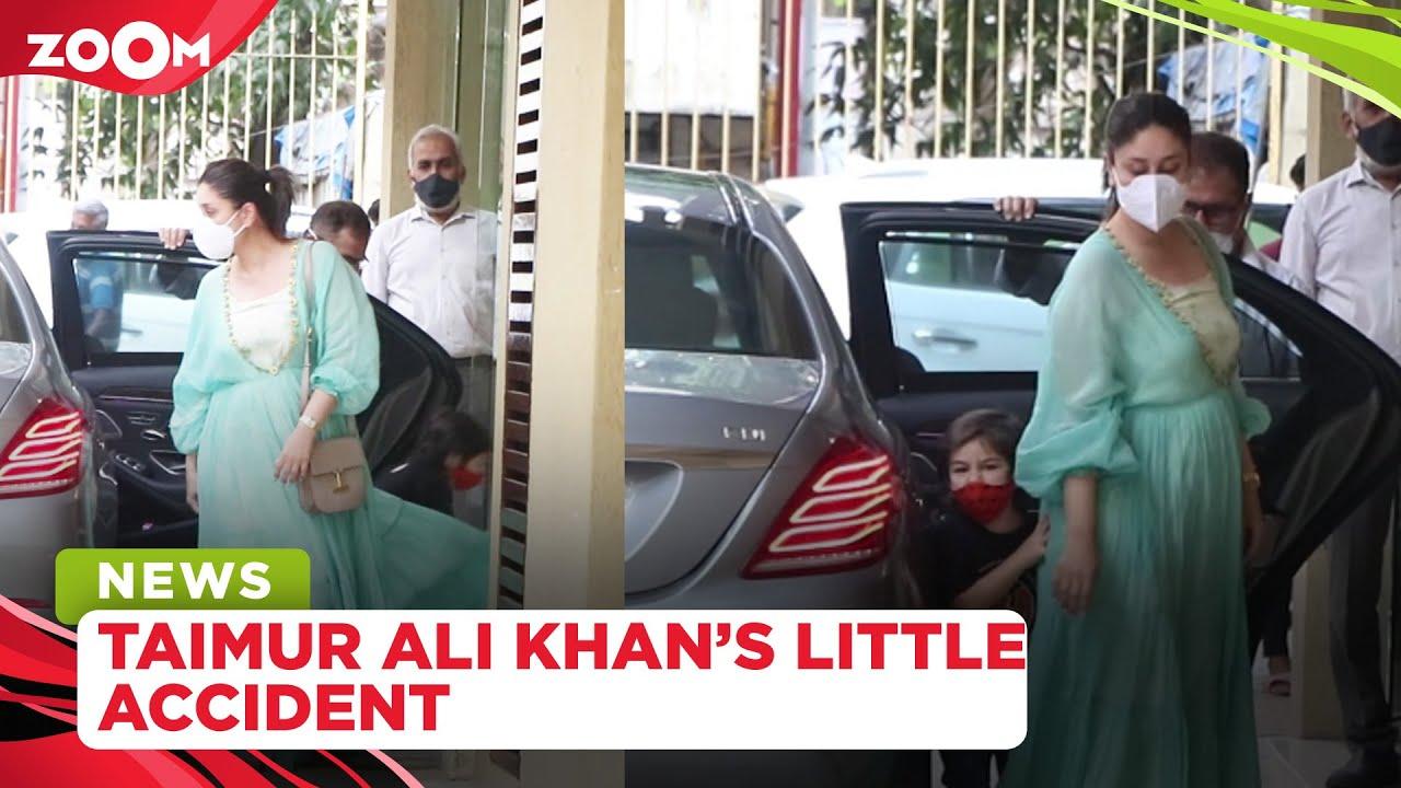 Taimur Ali Khan BANGS his head on glass door while mom Kareena poses for paps at Karsima's house