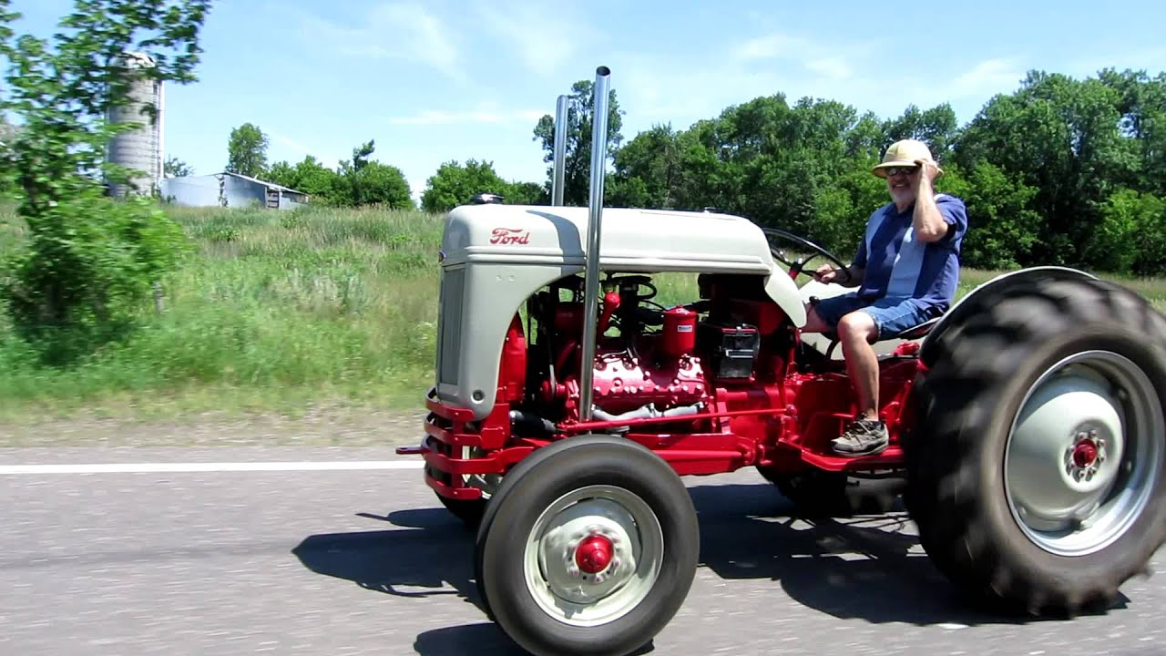 9n Ford Tractor >> Ford V8 8n out on the road - YouTube