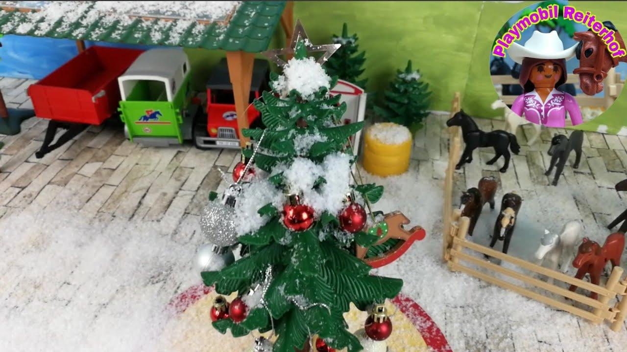 Playmobil Weihnachtsbaum.Playmobil Pferde Erster Schnee Auf Dem Reiterhof Weihnachtsbaum Vorbereitung Auf Das Hoffest 4k