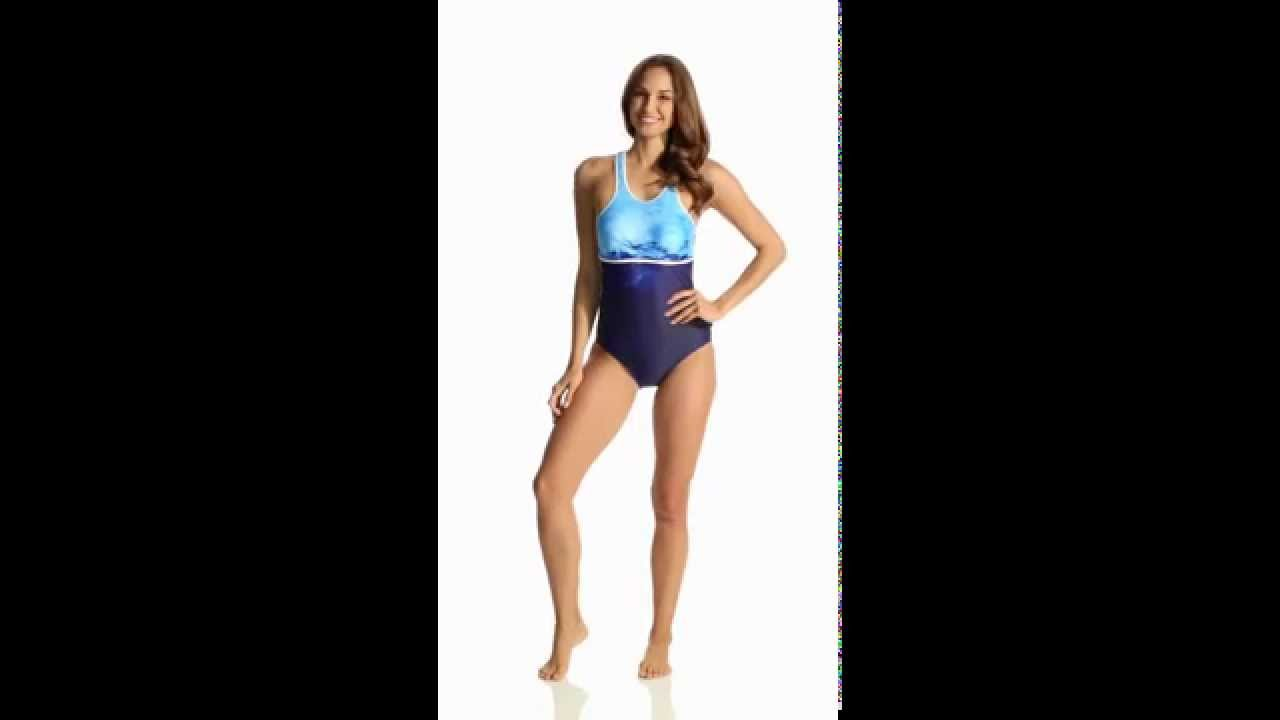 257a242a78 Nautica H2O Active Into the Blue Racer Back Soft Cup One Piece Swimsuit