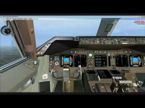 FSX LIVE cockpit landing at EGCC Air India