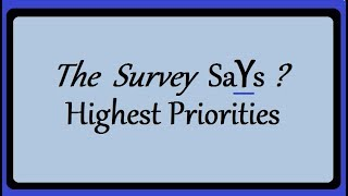 """""""The Survey SaYs ?    Highest Priorities"""""""