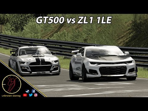 Ford Mustang Shelby GT500 vs Chevrolet Camaro ZL1 1LE at Nürburging / Assetto Corsa