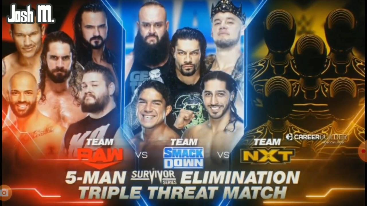 WWE Survivor Series 2019: Team Raw Vs Team Smackdown Vs Team Nxt Official Match Card
