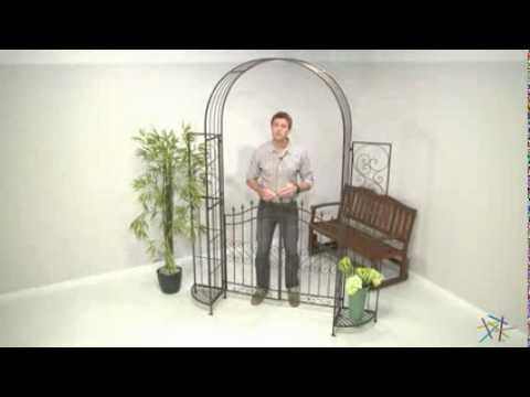 Hodgson Garden Metal Arbor with Gate and Planter Stands - Product Review Video