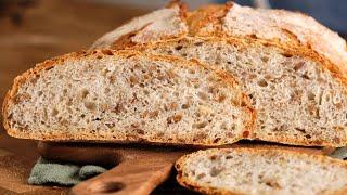 НЕ МЕСИТЬ а СКЛАДЫВАТЬ Пшенично ржаной хлеб БЕЗ замеса с семенами ПРОСТОЙ рецепт хлеб в духовке