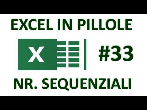 EP33 NR. SEQUENZIALI di excel  funzioni RIGHE - COLONNE- RIF.RIGHA  - RIF.COLONNA