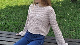 "Хлопковый свитер ""Август"" крючком Мастер-класс Crochet Cotton Sweater Tutorial"