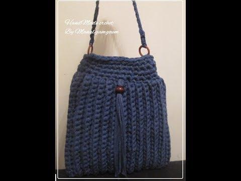 10f6fb523f4de شنطة كروشيه بخيط الكليم 2- handbag crochet