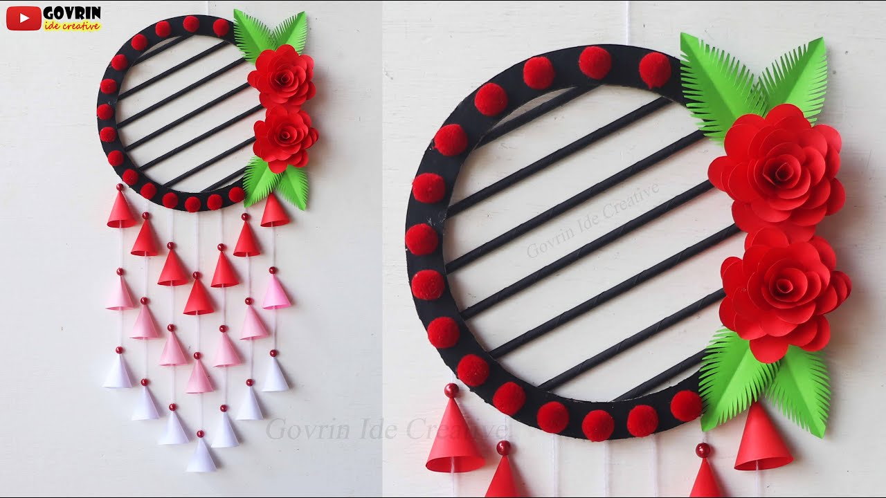 Beautiful Paper Flower Wall Hanging / DIY Rose Paper Craft Wall Hanging / Home Decor Ideas