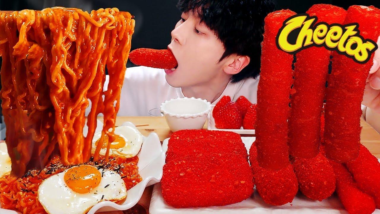 ASMR MUKBANG | 치즈 불닭볶음면 & 치토스 대왕 통 가래떡 튀김 핫도그 딸기 먹방 & 레시피 FIRE NOODLES AND Tteokbokki EATING