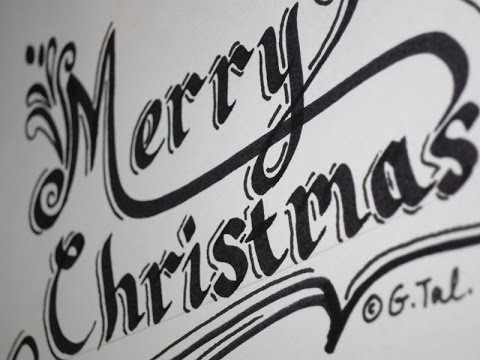 how to write merry christmas easy step by step fancy swirly calligraphy letters youtube