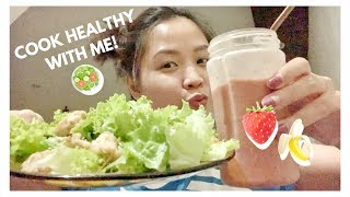 WHAT I ATE TO LOSE WEIGHT! My chicken salad 🥗+ smoothie recipe🍓🍌