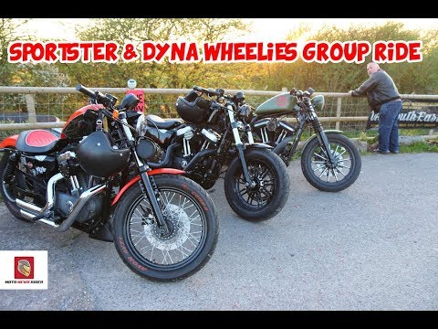 Wheeling Sportster Dyna Wheelie Group Ride