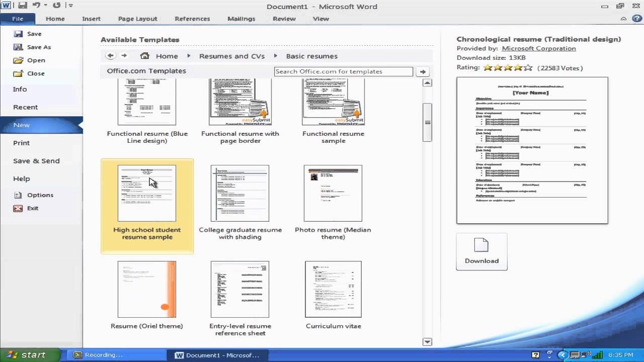 How To Make A Resume With Microsoft Word 2010