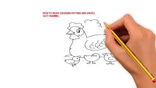 How To Draw Chickens Mother And Chicks-Learn Drawing And Color For KIDS