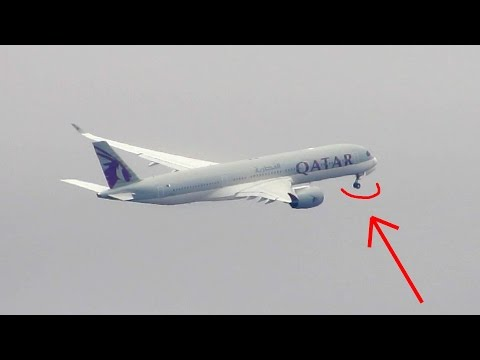 A350 NOSE GEAR FAILS TO RETRACT AFTER TAKEOFF!!! Qatar A350 at JFK Full HD