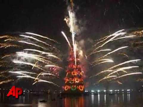 Raw Video: Brazil Lights Up Floating Christmas Tree