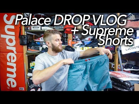 Palace Skateboards DROP VLOG + Supreme Nylon Water Shorts slate green thumbnail
