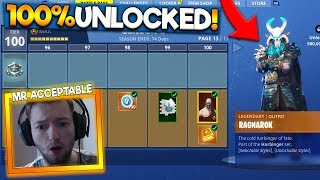 *NEW* SEASON 5 ALL 100 TIERS UNLOCKED Fortnite Battle Royale!