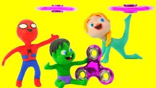 Superhero Babies Play w/ Fidget Spinners ❤  Frozen Elsa & Hulk Play Doh Cartoons And Stop Motion thumbnail