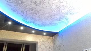 Натяжной потолок киев не дорого, красиво, быстро! светодиодные подсветки для любого потолка.(Натяжной потолок с установкой светодиодной подсветки, RGB лента установлена за потолком с фотопечатью. Нови..., 2015-04-26T11:53:08.000Z)