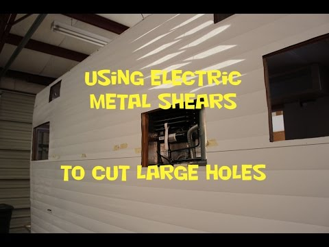 Using Electric Shears For Cutting Large Holes In Metal Skin
