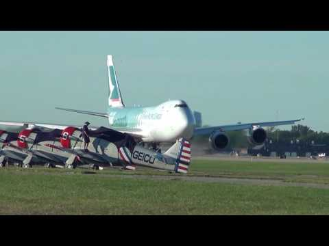 Cathay Pacific Cargo 747-8F Lands and Departs at EAA Airventure 2016