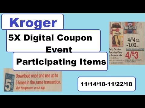 Kroger 5X Digital Coupon Event Participating Items- 11/14/18