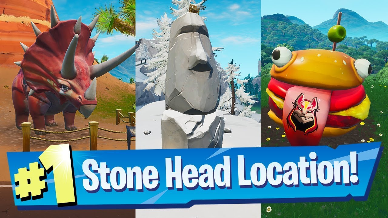 Visit Drift painted Durrr Burger Head, a Dinosaur and a Stone Head Statue - Fortnite Road Trip #1