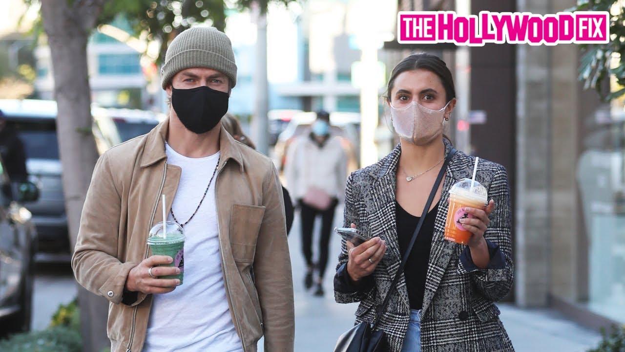 Derek Hough & Hayley Erbert Address Engagement Rumors While Grabbing Drinks At Joe & The Juice