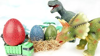 Catch The Truck Stealing Dinosaur Eggs! Tayo Truck Max, T-Rex, Tric...