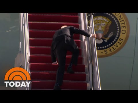 President Joe Biden 'Doing Fine' After He Tripped Walking Up To Air Force One | TODAY