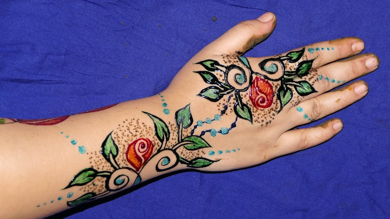 Colorful Henna Designs: 3 Colours DIY Henna Mehndi Design